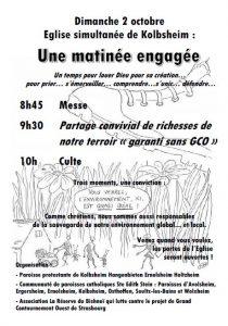 Dim. 2oct. : culte dédié à la lutte contre le GCO, Eglise St Léger de Kolbsheim @ Eglise St Léger,  Kolbsheim | Kolbsheim | Alsace-Champagne-Ardenne-Lorraine | France