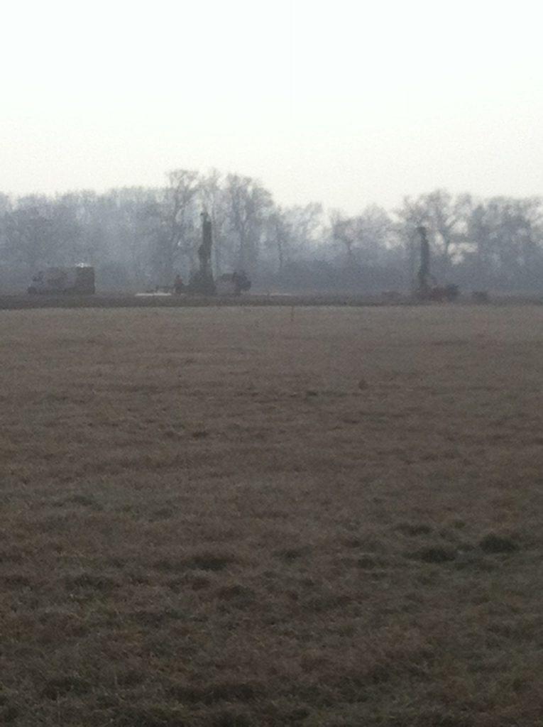 Même le samedi ils bossent : 3 forages repérés entre Koblsheim et Ernolsheim.