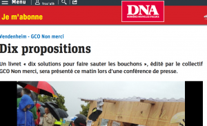 """10 propositions"" du Collectif GCO Non merci, DNA du 20 janvier 2014 (Capture MM)"