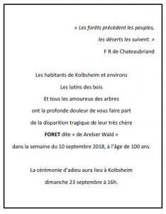 Cérémonie d'adieu - forêt de Kolbsheim @ Château de Kolbsheim | Kolbsheim | Grand Est | France