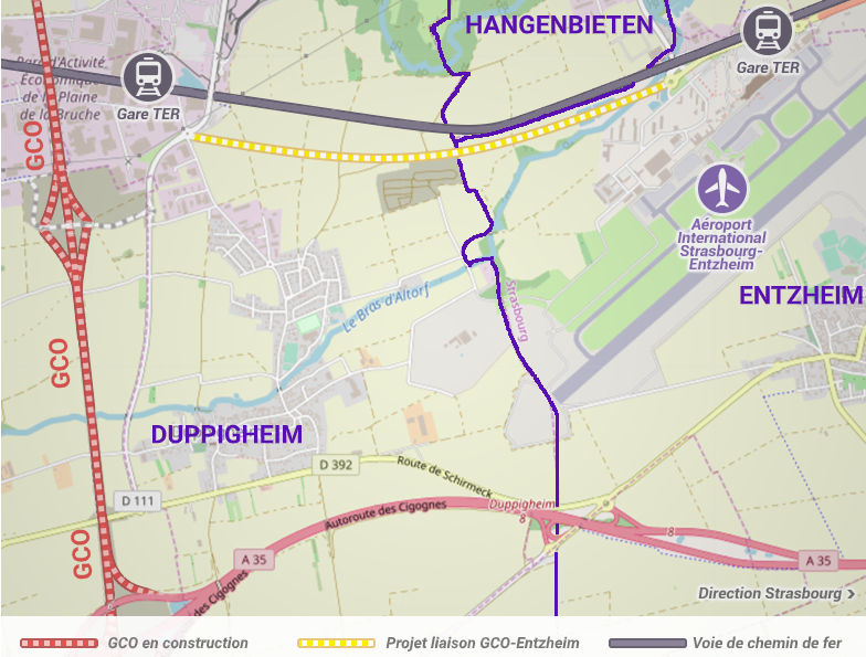 Projet de liaison GCO-Entzheim. Objectif officieux : donner un accès à la zone industrielle d'Enzheim/Holtzheim (accessoirement à l'aéroport).